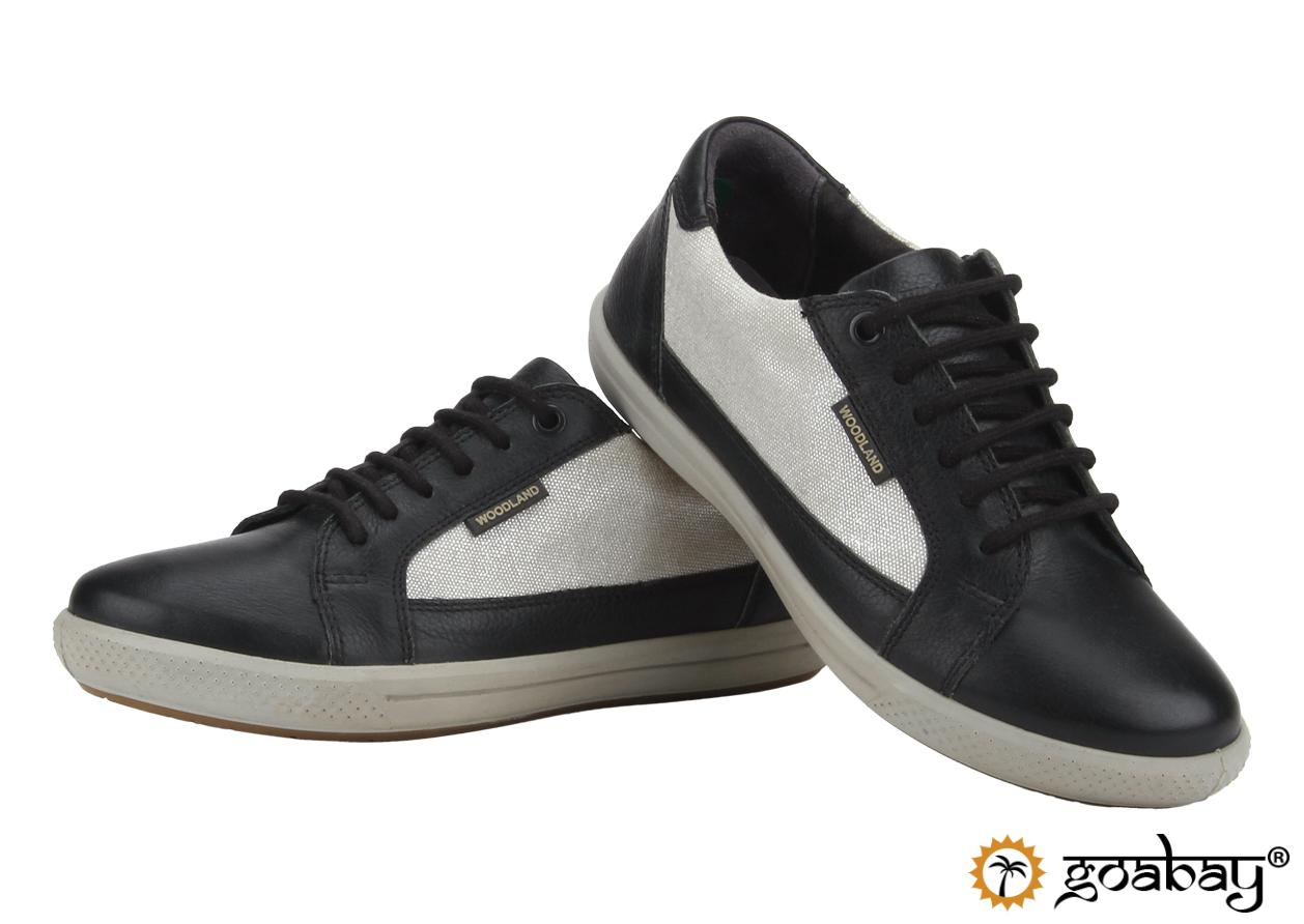 sneakers black and white WoodLand   GOABAY